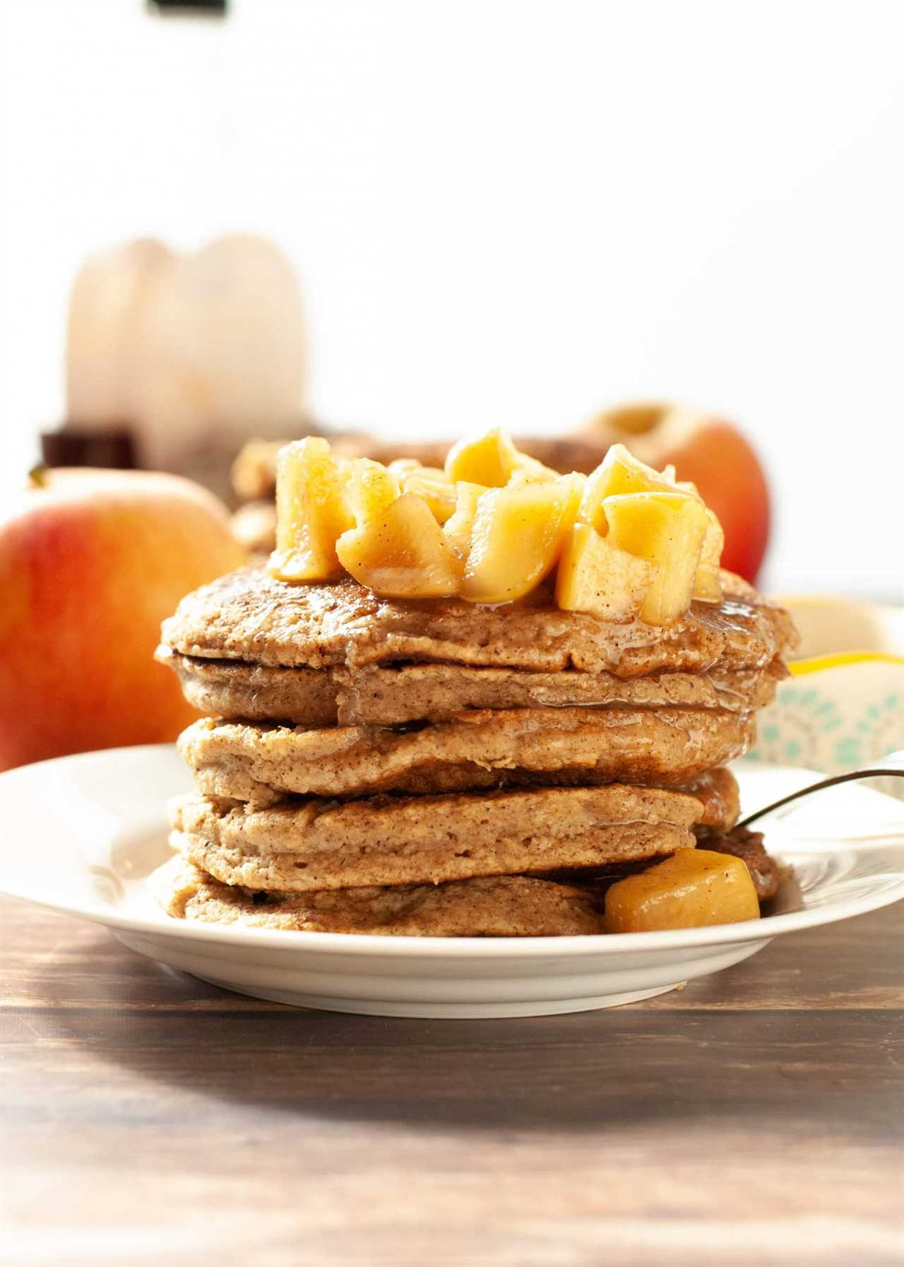 Spiced Apple Oatmeal Pancakes (GF & Vegan)